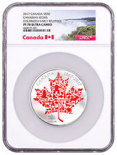 2017 Canadian Icons Maple Leaf 5 oz Silver Colorized $50 NGC PF70 UC ER SKU49884