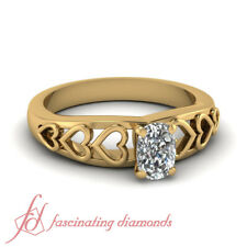 Yellow Gold Diamond Solitaire Pillow Cut Engagement Rings GIA Certified 1/2 Ct