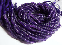 """13"""" strand purple AMETHYST faceted gem stone rondelle beads 3.5mm - 4mm"""