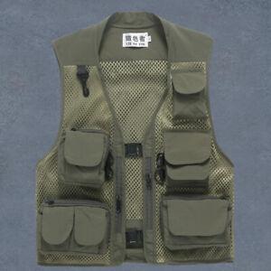 Multi Pockets Fishing Vest Men Summer Mesh Working Waistcoat Custom Logo 121