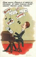 VINTAGE ENGLAND COMIC DANDY PLAYING PIANO with BANKNOTES FLYING AROUND POSTCARD