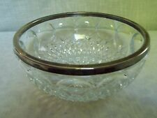 Clear Pressed Glass Serving Bowl with Silverplate Rim Centerpiece