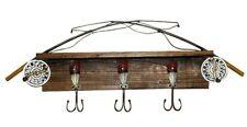 "Fisherman Fishing Rod Pole & Reel Coat Rack w 24"" Wooden Shelf with Lures Hooks"