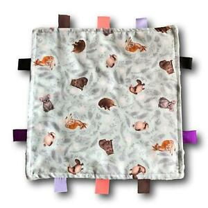 AUSTRALIAN ANIMALS and BIRDS Theme Tactile Baby Security Blanket