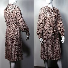 M&S Animal Print PLEATED Long Sleeve SHIRT DRESS Holly Willoughby ~ Size 12 PINK
