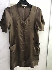 Lee MATHEWS Dress / Jacket Brown Acetate  Size 2 Made In Australia As NEW