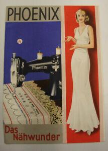 altes Prospekt Phoenix Nähmaschine um 1930 Werbeblatt mit Volksmöbel 6M