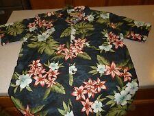 Havana Jack's Cafe Hawaiian Tropical Floral 100% Silk Shirt Mens sz L Large