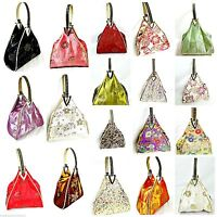 Handbag Silk satin small evening bag triangular shape handmade 8in x 4in x 8in