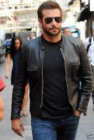 Men's Bradley Cooper Black Cafe Racer Biker Sheepskin leather Jackets All Sizes