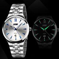 Men's Business Casual Silver Stainless Steel Analog Wrist Watch Waterproof Dress