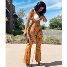 Women spaghetti strap backless print bodycon club party casual long jumpsuit