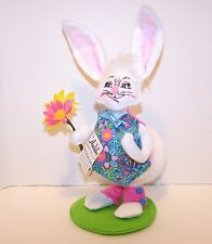 """2013 New $25.00 Tag ANNALEE 8"""" inch EASTER BOY BUNNY Doll Holding Flowers 202213"""