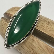 Marquis Green Chalcedony Ring Sz 7 Sterling Silver 11g Long VTG Hippie 1970s