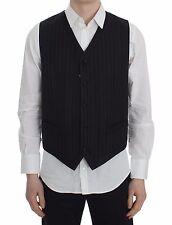 NWT DOLCE & GABBANA Vest Black Striped Wool Silk Waist Coat IT50/US40 /L