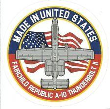 A-10 THUNDERBOLT JET AIRPLANE FAIRCHILD REPUBLIC  Sticker Decal
