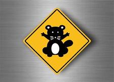 Autocollant sticker laptop macbook panneau route safari attention racoon