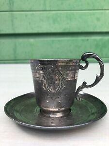 Ancienne tasse Gallia Christofle bouc coq 4101 métal argenté art nouveau 1900