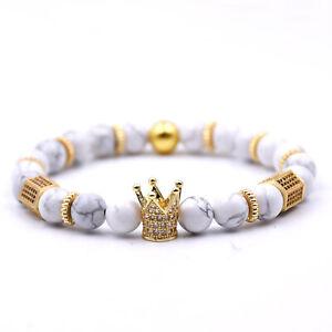 8mm Crown King Charm Bracelet for Men Women White Matte Onyx Stone Beads Gift