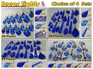SETS OF CHANDELIER DROPS BLUE GLASS CRYSTALS BEADS CHRISTMAS TREE DECORATIONS