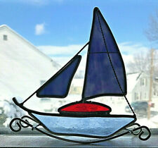 Vintage Stained Glass Slag And Chrome Rocking Sailboat Window Sill Suncatcher