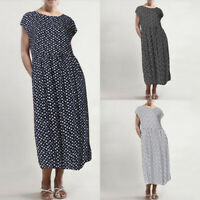 ZANZEA Womens Short Sleeve Polka Dot Long Dress Loose Baggy Kaftan Midi Dresses