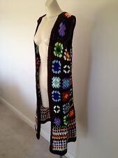 1970s hippie boho crochet longline cardi vest