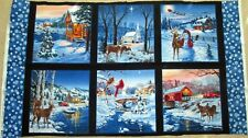 "1 Colorful ""Christmas Scenes"" Cotton Fabric Quilting/Wallhanging Panel"