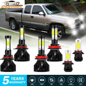 For Chevrolet Silverado 1500 2500 HD LED Headlight Hi/Lo Beam Bulbs Fog Light