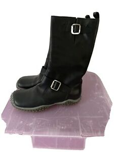Miu Miu Double Buckle Mid-Black Leather Boots EU38 UK5 BNWB