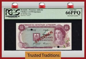 "TT PK 29as 1978 BERMUDA 5 DOLLARS ""QUEEN ELIZABETH II"" ""SPECIMEN"" PCGS 66 PPQ"