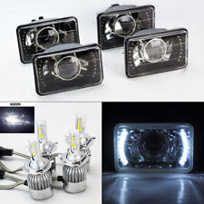 "FOUR 4x6"" Glass Black Chrome Projector DRL Headlights w/ 6K 36W LED H4 Bulbs GMC"