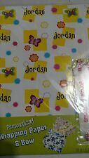 Personalized birthday gift wrap wrapping spring butterflies NIP Jordan
