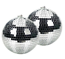 More details for twin pack of silver 10cm lightweight glass reflective disco mirrorballs