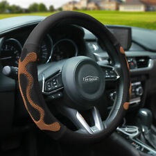 Universal Leather Steering Wheel Covers For Auto Car SUV Van Black Brown