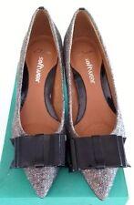 CLARKS Softwear Leather Ladies Court Patent Bow & heel Tweed Shoe BNIB Size 5.5
