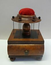 Rare EARLY-AMERICAN SEWING BOX/ PIN CUSHION  c. 1840  primitive cabinet