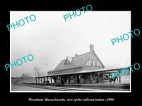 OLD LARGE HISTORIC PHOTO OF WRENTHAM MASSACHUSETTS THE RAILROAD STATION c1900