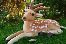 Jungle Deer Sitting Lying Soft Toy Plush Brown & White 55cmL