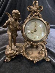 "Stunning Antique Art-Nouveau Cherub Decorated ""Mercedes""Clock In Gold Gilt Metal"