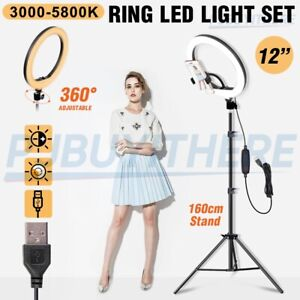 "12"" LED Ring Light Dimmable Lighting Phone Selfie Tripod Stand Makeup Live Lamp"