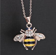 Fashion Charm Jewelry Yellow Bee Crystal Cute women Rhinestone Pendant Necklace
