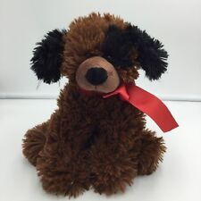 """Ganz Scout Brown Black Puppy Dog Plush Red Bow Stuffed 8"""""""