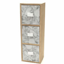 Chest of Drawers Marble Wooden Jewelery Box Trinket Small Three Drawer 32cm