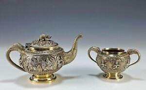 Antique Burmese Gilded Silver Teapot and Sugar Bowl
