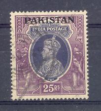 PAKISTAN SG 19 GVI 25 RUPEE SLATE VIOLET & PURPLE 1947 DEFINITIVE TOP VALUE USED
