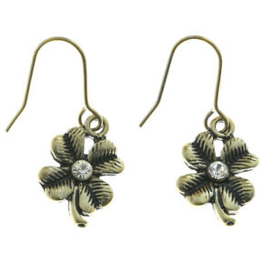 Mi Amore Crystal Accents Clover Dangle-Earrings Gold-Tone
