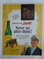 1954 Squirt green soda bottle Tartan plaid carton vintage soft drink ad