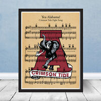 Vintage Alabama Crimson Tide Logo Football Fight Song Sheet Music Art Yea Gift