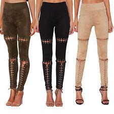2017 Womens  Front Lace Up Denim Jeans Bandage Clubwear Pants Leggings S-XL
